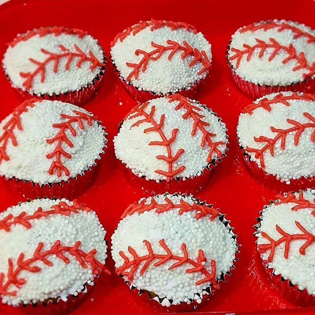 Baseball cupcakes ready for tomorrow's b