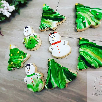 Vegan Sugar Cookies - Snowman and Christmas Trees