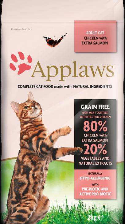 84% pollo con salmón adicional + verduras y extractos naturales + prebiótico. Alimento completo pata gatos adultos. Sin cereales.