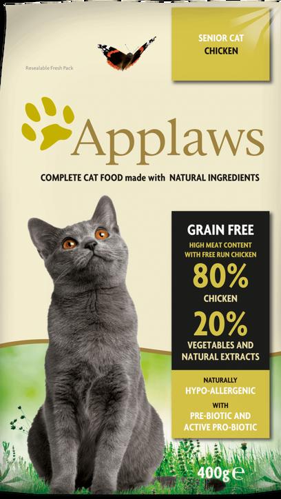 80% pollo con verduras y extractos naturales + prebiótico – comida completa pata gatos senior. Sin cereales.