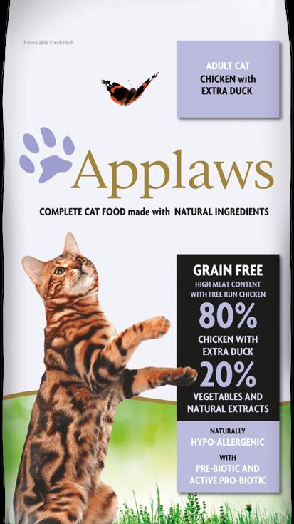85% pollo con pato, con verduras y extractos naturales + prebiótico – Comida completa para gatos adultos. Sin cereales.