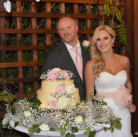 Bride and Groom with Cake-Red Gate Inn