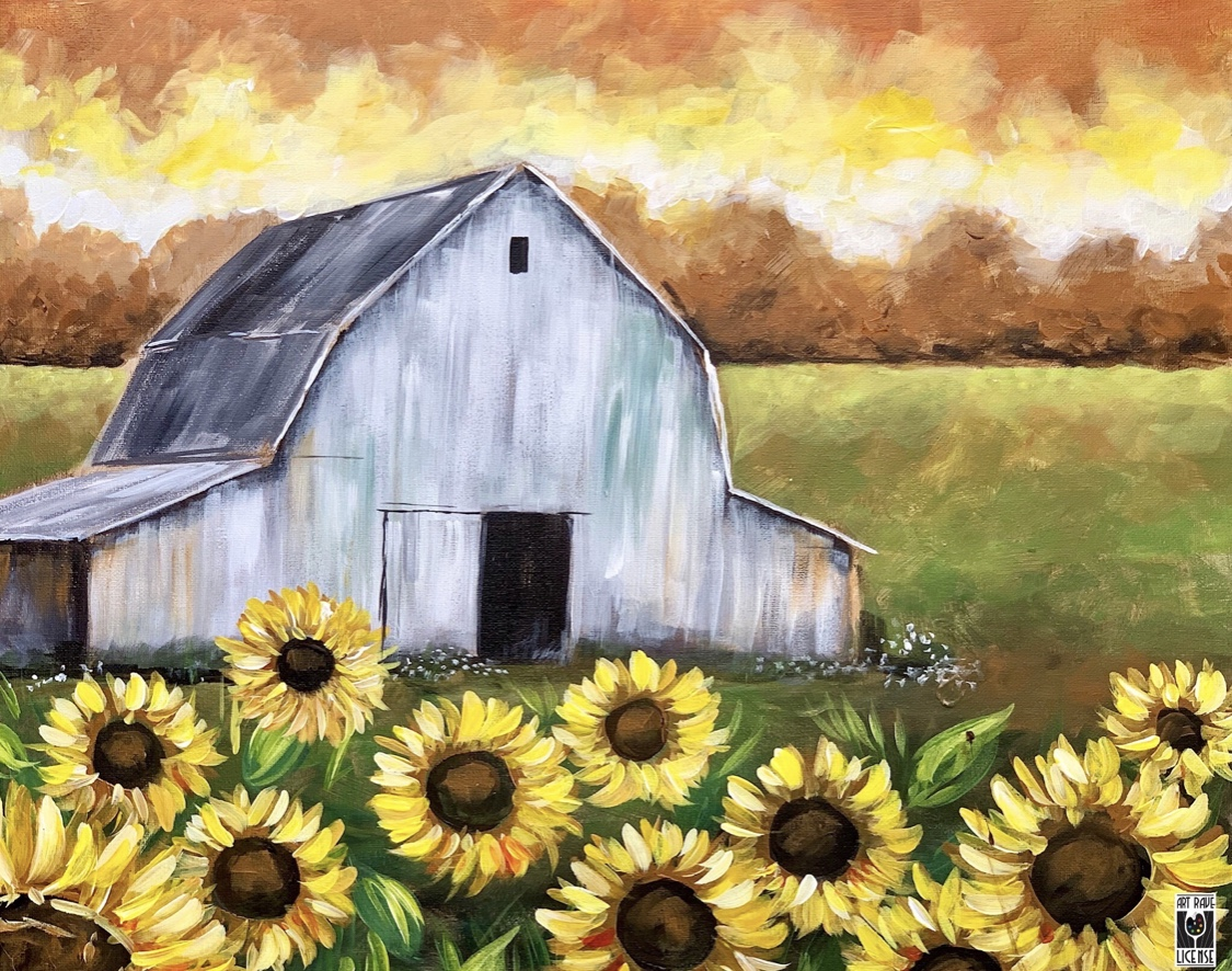 White Barn with Sunflowers