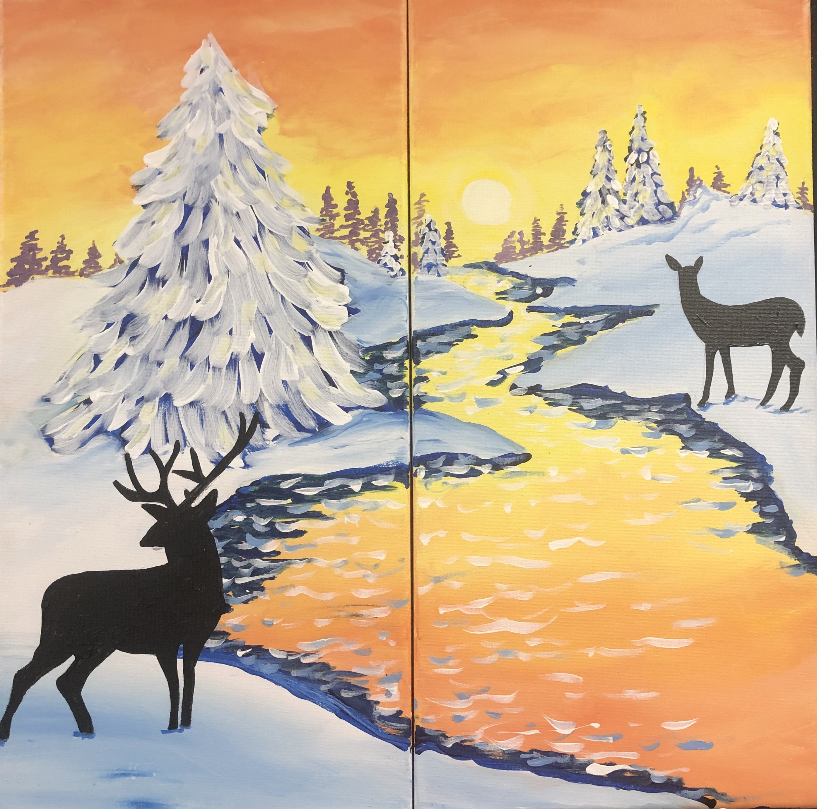 Deer in Meadow - Couples Paint