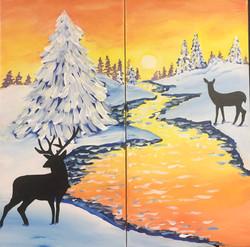 Deer in Meadow - Couples Paint