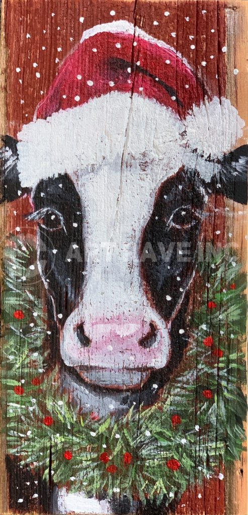 Christmas Cow with Wreath (on wood)