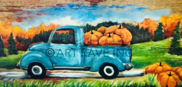Truck with Pumpkins (Wood)