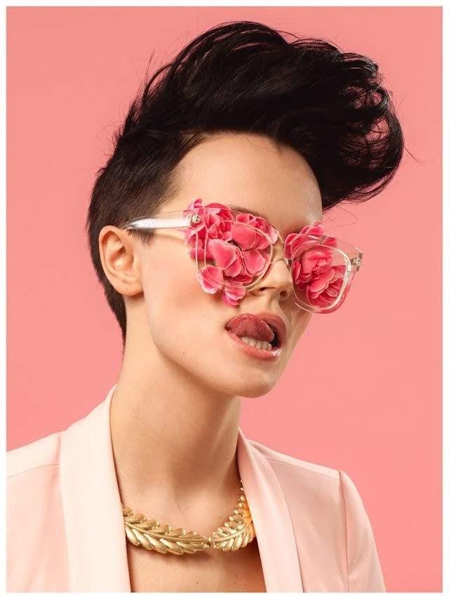 Women in rose glasses