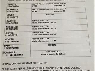 Ecco il calendario della preparazione precampionato Settore Agonstico 2001/2002/2003