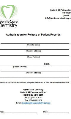 Downloadable Forms For Gentle Care Dentistry