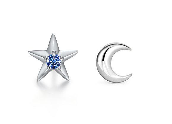 Moon + Star Studs | Silver Blue