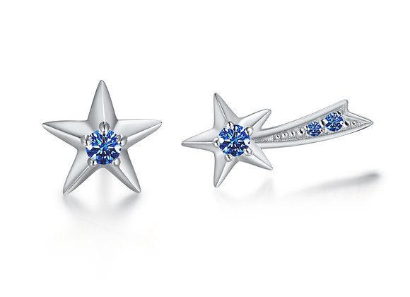 Star + Shooting Star Studs | Silver Blue
