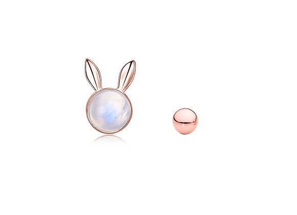 Dream Bunny Studs with Tail | Rose Gold