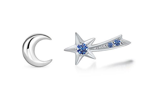 Moon + Shooting Star Studs | Silver Blue