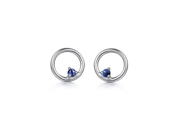 Blue Sapphire Coral Studs | Silver