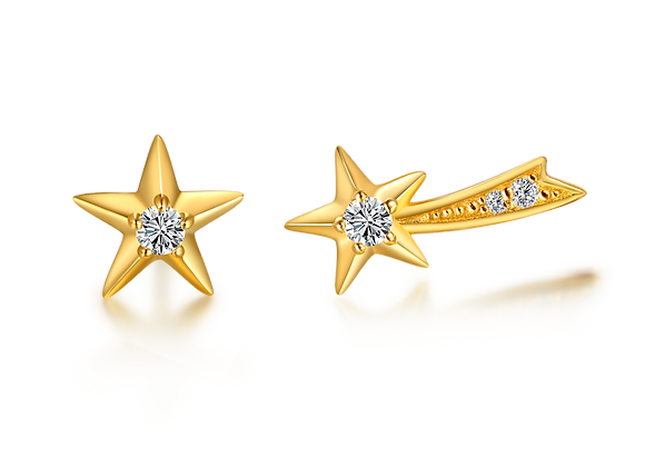 Star + Shooting Star Studs | Gold