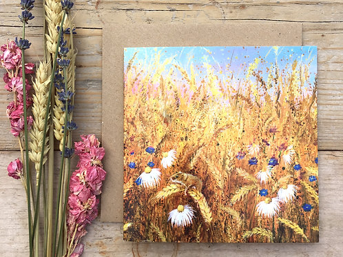 'Harvest mouse' greeting card