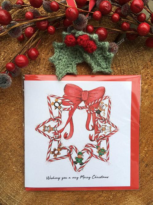 Christmas Card 'Candy Cane Wreath'