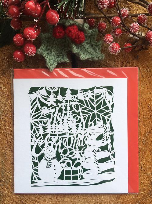 Christmas Card 'Green Merry Christmas Papercut'