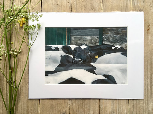Holstein Cow giclee print | Keep your head up