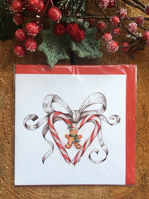 Christmas Card 'Candy Heart and Bow'