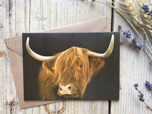 Highland cow greeting card 'Always Watching'
