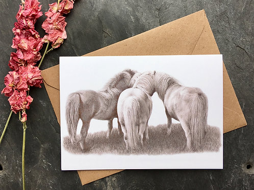 Shetland ponies | greeting Card 'Horse Whispers'