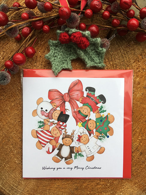 Christmas Card (Design 2) Snowman/Candy Cane/Reindeer/Baker/Christmas tree/Elf