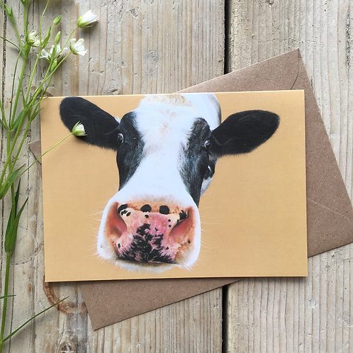 Cow Greeting Card 'Nosey Moo'
