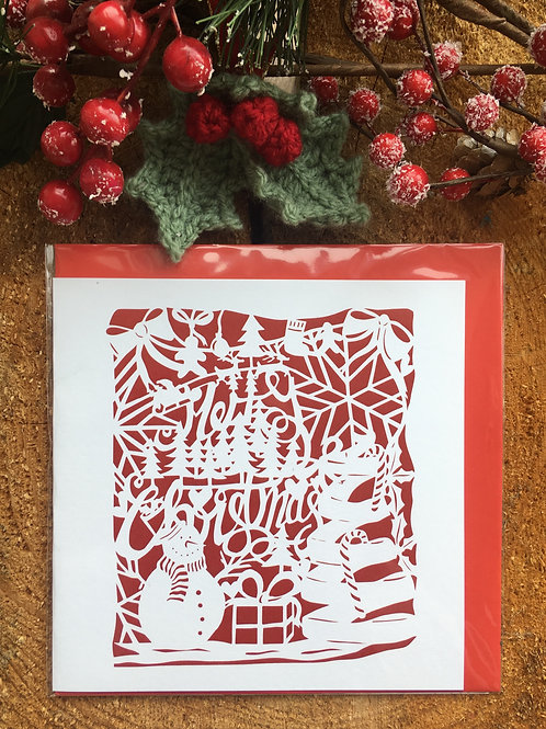 Christmas Card 'Red Merry Christmas Papercut'