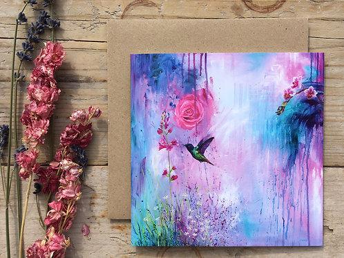 Hummingbird greeting card 'Iridescence'