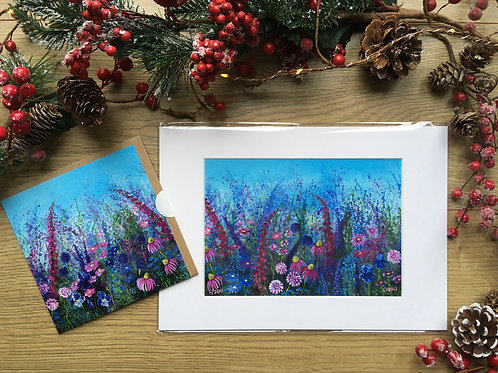 A3 'Wild pink' print and matching card