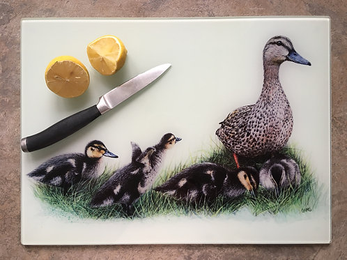 'Family Time' | Duck and Ducklings | Clear glass worktop saver