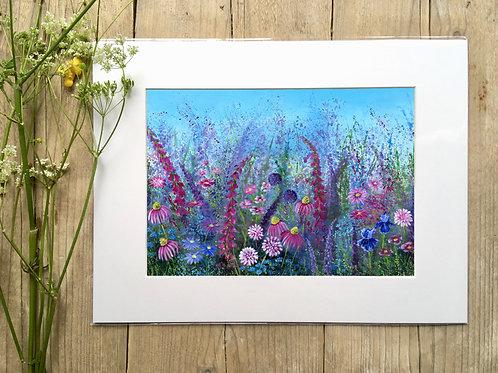 Flower 'Pink wild' meadow gicleé print