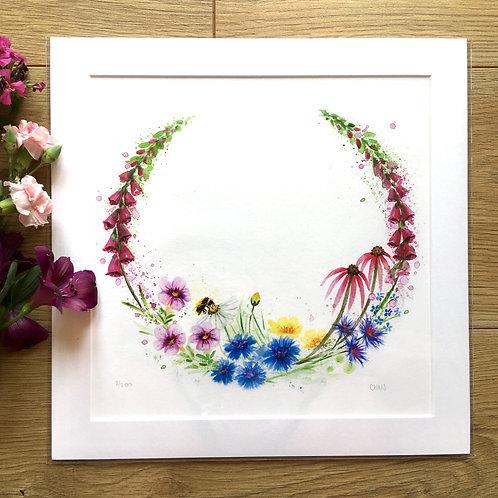 'Foxglove and Bee Meadow' print