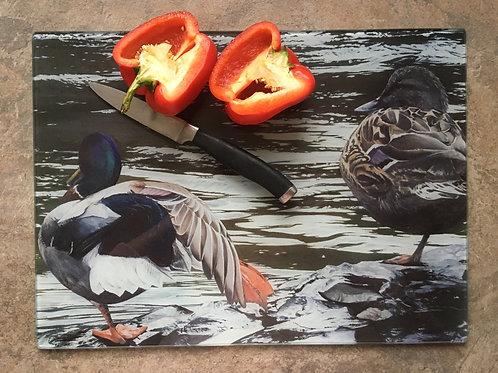 'Lazy River Days'   Ducks   Clear glass worktop saver