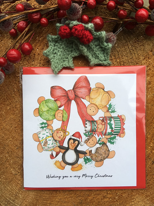 Christmas Card (Design 1) Sprout/Present/Penguin/Pudding/Cracker/Turkey