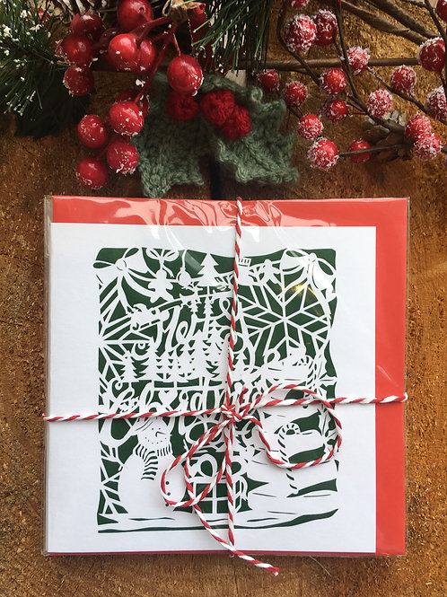 Multipack of 10 - 'Christmas Papercuts'