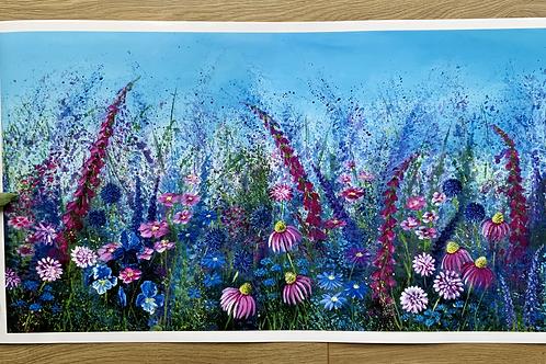 Wild Pink Meadow | Large Print | Slight Miss Print on right edge