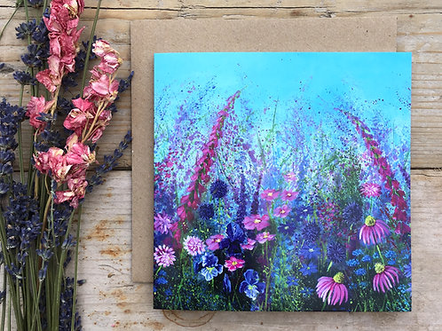 'Pink wild meadow' greeting card