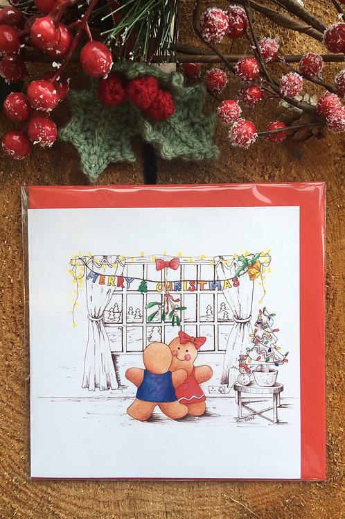 Christmas Card 'Mistletoe kisses'