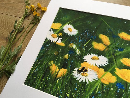Bumble bee 'Bee Happy meadow' gicleé print