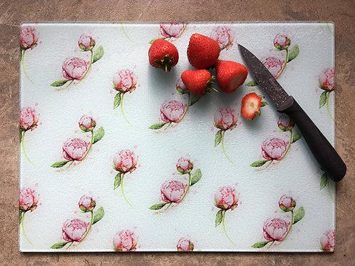 'Peonies' | Chinchilla chopping board