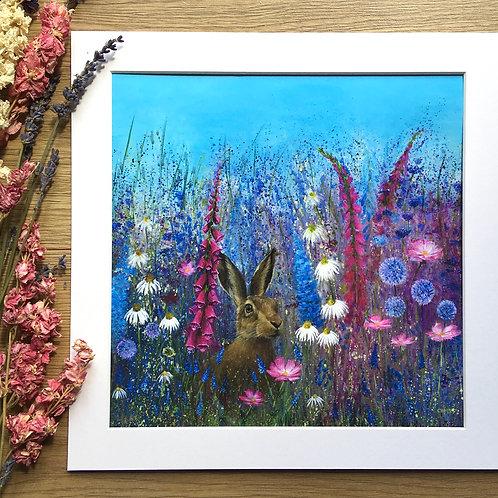 'Meadow hare' print