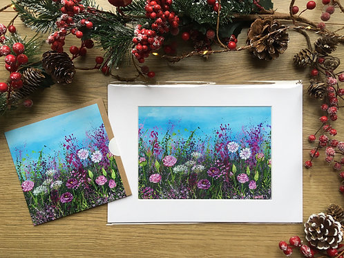 A3 'Rose meadow' print and matching card
