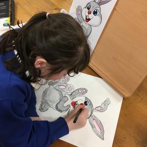 Phoebe adding the finishing touches!