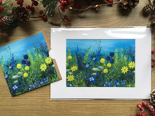 A3 'Yellow meadow' print and matching card