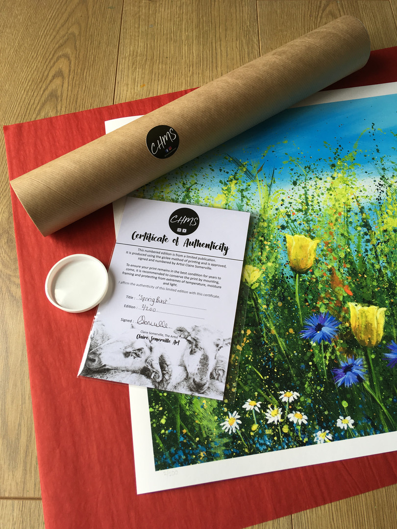 Large Meadow prints are sent rolled for
