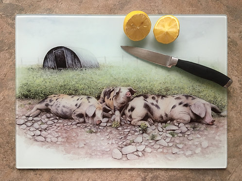 '40 Winks' | Gloucester old spot pigs | Clear glass worktop saver