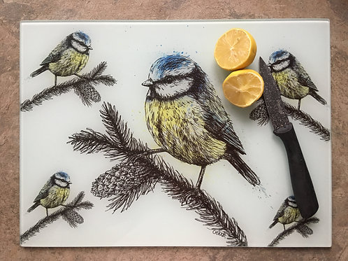 'Blue Tit' Glass Worktop Saver